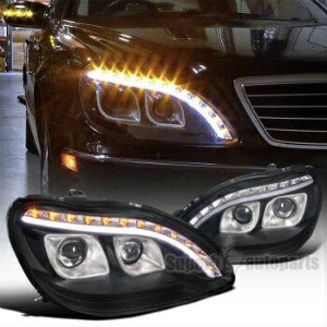 ベンツ ヘッドライト 1998-2006 Mercedes Benz W220 S320 S420 Projector LED Signal DRL Black Headlights 1998...