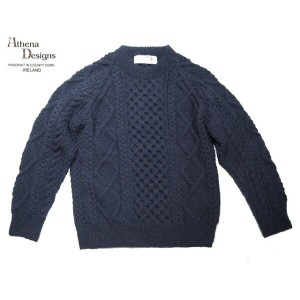 【期間限定30%OFF!】ATHENA DESIGNS(アテナデザインズ)/#8039 CREWNECK HANDKNIT HONEY COMB SWEATER/indigo