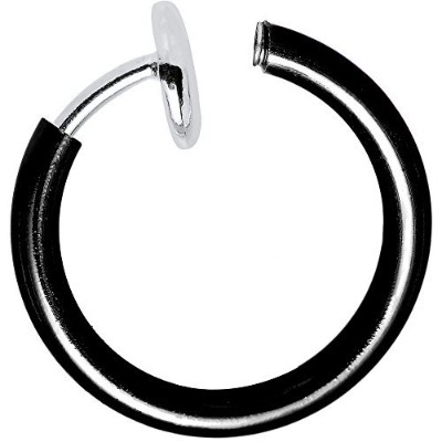 Non-Piercing Hoops - Perfect for Nose, Lip, Ear, Cartilage - Great for All Ages (Black) by BodyJewelryOnline