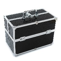 Large Cosmetic Organizer Box Make Up Case for Make Up Tools Lockable Black Containing Storage Box