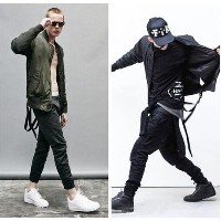 Fashion MA1 Bomber Jacket Men Slim Hem With Ribbon Belt Mens Jackets And Coats Hiphop Manteau Homme
