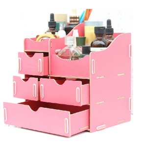 Creative DIY Wooden Desktop /Cosmetic storage box /Storage Rack /Shelves with drawers/Clothes...