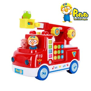 119 Pororo melody Fire Engine 3 pcs Character Figures Toy Set / The best gift for children / Korean Animation /The Little Penguin Pororo Character Toy / Sound Voice LED Lighting Effect / Button