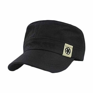 UPLOTER Flat Roof Military Hat Cadet Patrol Bush Hat Baseball Field Cap (Black)