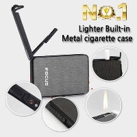[Lighter Built-in metal cigarette case] Automatic Luxury Cool Tobacco Box/Metal Cigarette Case/ ...