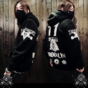 :Seoul Look:?korea ulzzang?Men Autumn Jacket春秋趣味「THRAS*ER 77 Brooklyn」フード付きパーカー Outdoor Hoodie...