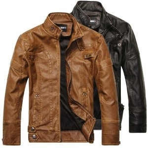 High Quality Fashion Leather Jacket Men Pu Leather Stand Collar Motorcycle Jacket