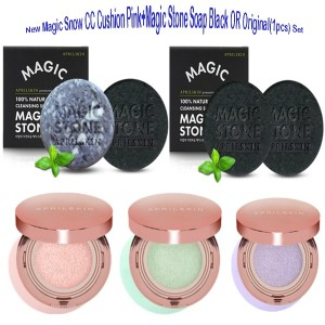 (April Skin) New Magic Snow CC Cushion Pink + Magic Stone Soap (Black or Original) Set