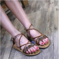 Season new flat sandals with sandals female Europe and the United States sequins cross straps Roman...