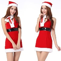 Sweet Women's Miss Santa Sexy Hang Neck Suit Costume Dress with Hat and Scarf Free Size