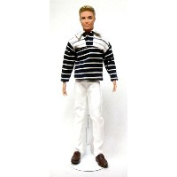 バービー ケン 着せ替え用/洋服 Ken8 (2pc Ken Outfit White and Black Stripes and White Pants Made to Fit the Ken...