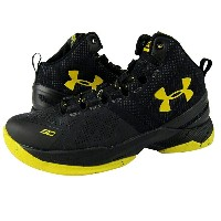 """Under Armour Curry 2 """"Black knight"""" キッズ/レディース Black/Black/Taxi アンダーアーマー バッシュ カリー2"""