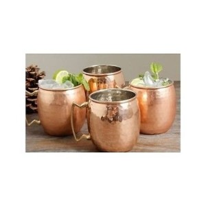 Hammered Copper Moscow Mule Mug with Brass Handle, 18oz, Pack of 4