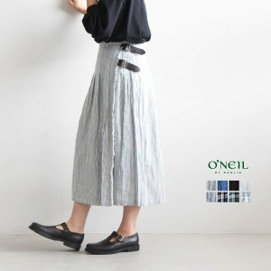 【ポイント最大33倍】◆(NOD0901) O'NEIL OF DUBLIN(オニールオブダブリン)LINEN LOW WAIST PLEATS WRAP SKIRT(WITH PIN...