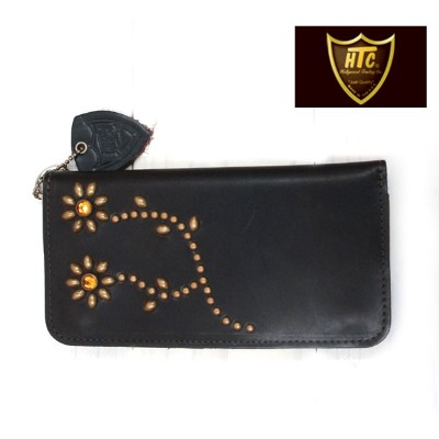 HTC USA Type1 #FLOWER11 LEATHER LONG WALLET NICKEL STUDS ( ニッケルスタッズ ) BROWN LEATHER ( ブラウンレザー ...