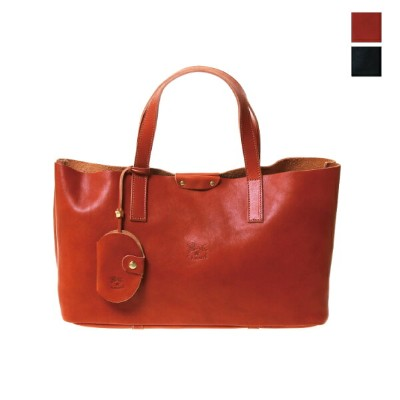 """IL BISONTE(イルビゾンテ) レザー トートバッグ Tote Bag """"チャーム付き"""" 54172-3-00314 送料無料 日本正規代理店商品"""