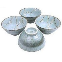 Set of Four Japanese Sakura Cherry Blossom Large Noodle /Soup Bowls 6 1/2 Inches by Japan