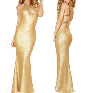 ebasse Gold Silver Sequined Mermaid Backless Party Evening Dress Prom Dresses Sexy Cosplay Clubwear