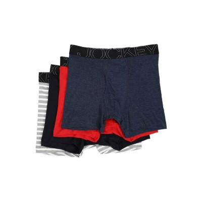 ジョッキー メンズ インナー・下着 ボクサーパンツ【Active Blend Boxer Brief 4-Pack】Rough Blue/Racing Red/Navy Heather/Grey...