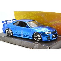 "JadaTOYS 1:24SCALE ""THE FAST AND THE FURIOUS""FAST 8 ワイルド・スピードBrian's NISSAN SKYLINE GT-R (R34 BLUE..."
