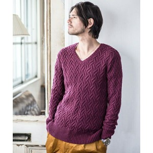 【CAMBIO(カンビオ)】Washable Wool Heteromorphic V-Neck Knit Pullover