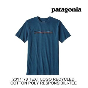 2017 PATAGONIA パタゴニア Tシャツ '73 TEXT LOGO RECYCLED COTTON/POLY RESPONSIBILI-TEE GLSB GLASS BLUE