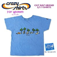 Crazy Shirts(クレイジーシャツ)-Womens- S/S Scoope Neck Tee @BLUE HAWAII DYED[2008806] CAT NAP BAND...