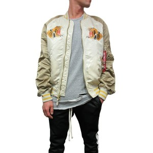 【U.S.A企画 正規品】 ALPHA INDUSTRIES【アルファ インダストリーズ】【TIGER SOUVENIR JACKET】【VINTAGE WHITE/SAND/MAUVE】薄手...