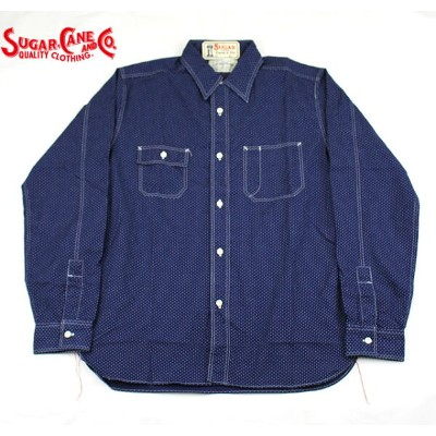 No.SC27077 SUGAR CANEシュガーケーンFICTION ROMANCE4.5oz. POLKA DOT WORK SHIRT