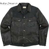 "【SALE】20%OFF★Nudie Jeans co/ヌーディージーンズ""PERRY"" LEATHER & CRUST レザージャケット/タイプIIIレザージャケット BLACK(ブラック)"
