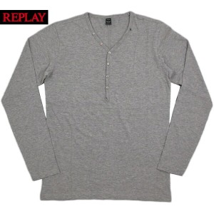 REPLAY/リプレイ M3033 COTTON JERSEY T-SHIRT with BUTTONS 長袖ヘンリーネックカットソー/長袖ヘンリーネックTシャツ H.GREY(ヘザーグレー)