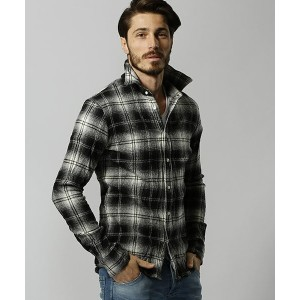 【wjk】4814 ch72h-check shirts with leather シャツ