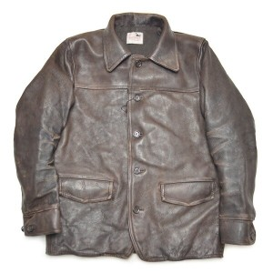 "【USED】GANGSTERVILLE 30'S CAR - COAT ""COW HIDE"" (BROWN) ギャングスタービル ヴィンテージ加工 カウハイド カーコート/レザー ジャケット..."