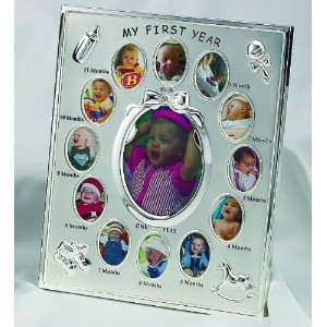 PEWTER FINISH BABYS FIRST 12 MONTHS FRAME - Picture Frame by Elegance Silver