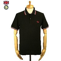 Fred Perry フレッド・ペリー M12 Men's Twin Tipped Fred Perry Polo Shirt 186 Black/White/Red メンズ ツイン ティップ...