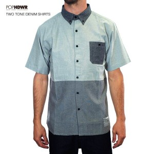 POP HDWR Two Tone Denim Short Sleeve Shirts /ポップヘッドウエア ツートーンシャツ 2015model