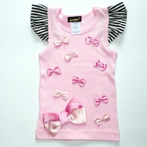 SALE【40%OFF】Queenbee/Ribbon Tank Top /ピンク×ピンクリボン/2T/90cm【ネコポスOK】