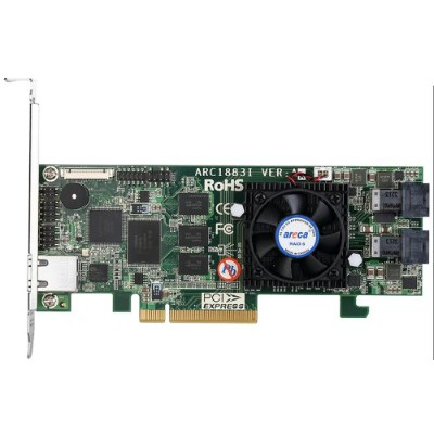 ARECA SAS/SATA RAIDカード 8ポート PCIe3.0、On-Board Cache 2GB 2x SFF-8643 ARC-1883i
