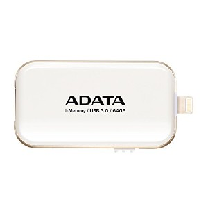 ADATA iPhone・iPad・iPod touch Lightning接続USB3.0メモリ UE710 64GB ホワイト AUE710-64G-CWH