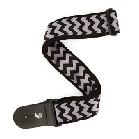 Planet Waves by D'Addario プラネットウェーブス ギターストラップ Chevron Woven Guitar Strap T20S1506 Black and Grey ...