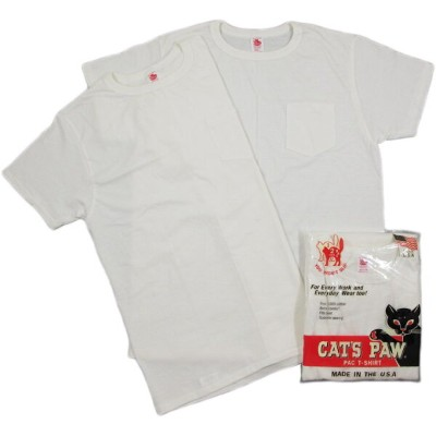 CAT'S PAW/キャッツポウ CP77200 Made in U.S.A. S/S POCKET T-SHIRT 2 PCS PACK2枚入り、ポケット付き、半袖 無地クルーネック...