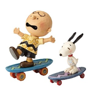 PEANUTS DESIGNS BY JIM SHORE フィギュア スヌーピー&チャーリーブラウン Skateboarding Buddies #4054080 4054080