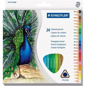送料無料 色鉛筆 ステッドラー 24色 色鉛筆セット Staedtler Mars Easy Grip Triangular Barrel Pre Shaped 2.9 mm Colored...