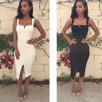Bandage Dress 2015 Sexy Party Dress Knee Length Pencil Midi Dress Sexy Bodycon Women Dress