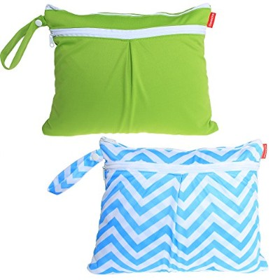 Damero 2pcs/pack Cute Travel Baby Wet and Dry Cloth Diaper Organizer Bag. Green+Blue Chevron by...
