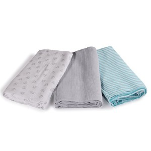 SwaddleMe Muslin Swaddle Blankets 3-PK, Grey Anchors (OS) by SwaddleMe