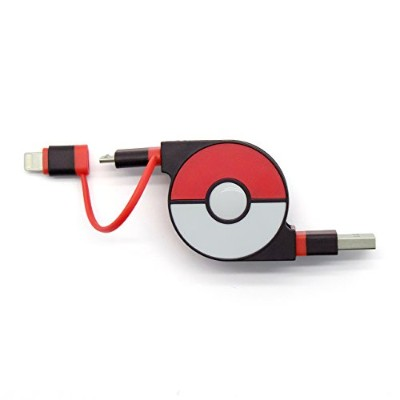 cheero 2in1 Retractable USB Cable with Lightning & micro USB Pokemon version (Red) MFi取得 巻き取り式...