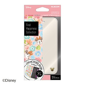 ELECOM Xperia X Performance/SO-04H/SOV33 レザーケース Disney ミニーマウス (アイボリー)  PM-SOXPPLFDNYC4