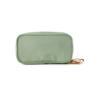 ithinkso DOUBLE ZIP MAKE UP POUCH ブラシが収納できるポーチ (ジェイド)