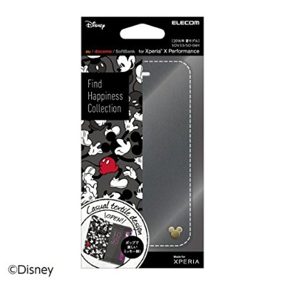 ELECOM Xperia X Performance/SO-04H/SOV33 レザーケース Disney ミッキーマウス (ブラック)  PM-SOXPPLFDNYC1